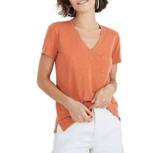 Madewell Tops - Madewell Whisper Cotton Orange V-Neck T-Shirt